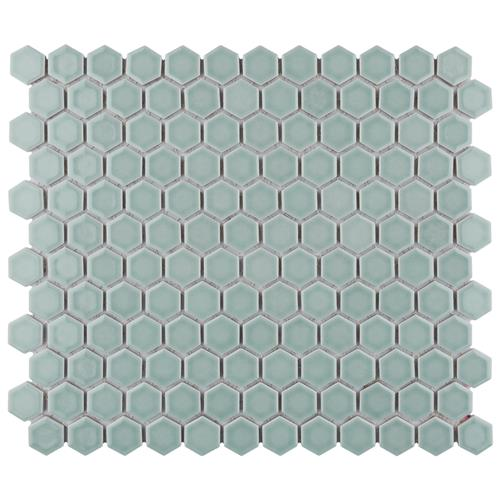 "Picture of Tribeca Hex 1"" Glossy Mist 10-1/4"" x 11-7/8""Porcelain Mosaic"