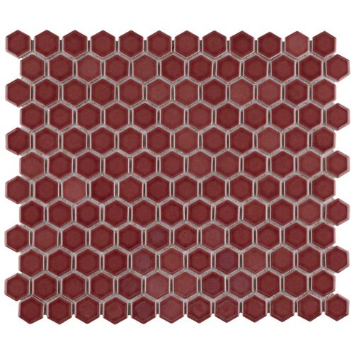 "Picture of Tribeca Hex 1"" Glossy Rusty Red 10-1/4"" x 11-7/8"" Mosaic"