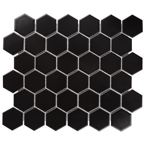 "Picture of Chelsea 2"" Hex Matte Black 10-7/8""x12-1/2"" Porcelain Mos"