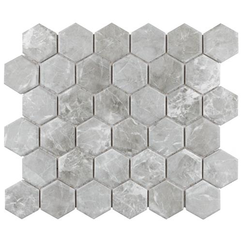 "Picture of Flo 2"" Hex Grey 11 1/8"" x 12 5/8"" Porcelain Mosaic"