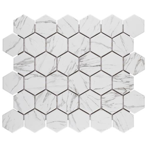 "Picture of Flo 2"" Hex White 11-1/8""x12-5/8"" Porcelain Mosaic"
