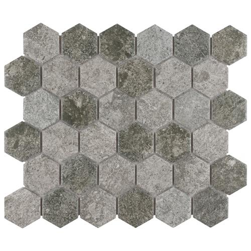 "Picture of Grinta 2"" Hex Grey 11-1/8"" x 12-5/8""  Porcelain Mosaic"