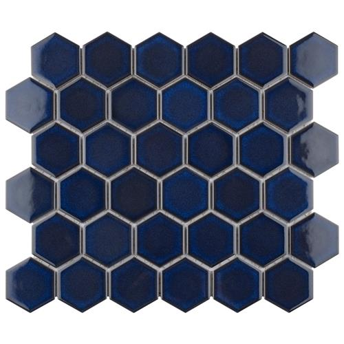 "Picture of Tribeca Hex 2"" Glossy Cobalt 12 5/8""x11 1/8"" Porc Mosaic"