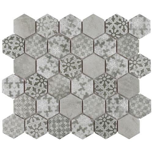 "Picture of Medley 2"" Hex Grey 11-1/8"" x 12-5/8"" Porcelain Mosaic"