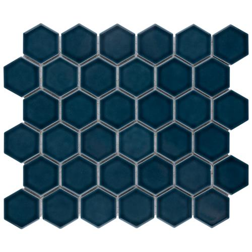 "Picture of Tribeca 2"" Hex Glacier Blue 11-1/8""x12-5/8"" Porcelain Mosaic"