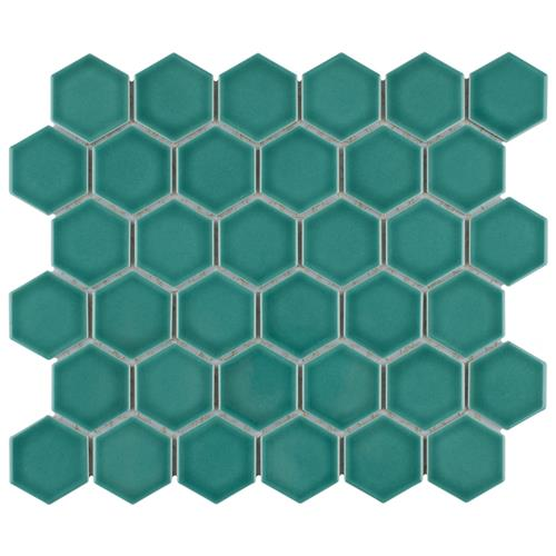 "Picture of Tribeca 2"" Hex Glossy Jade 11-1/8""x12-5/8"" Porcelain Mosaic"