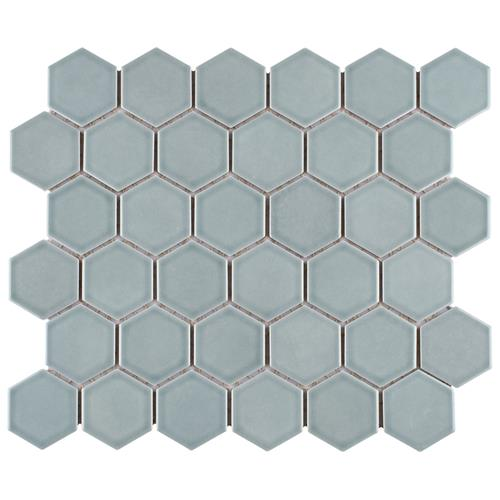 "Picture of Tribeca 2"" Hex Glossy Mist 11-1/8""x12-5/8"" Porcelain Mosaic"