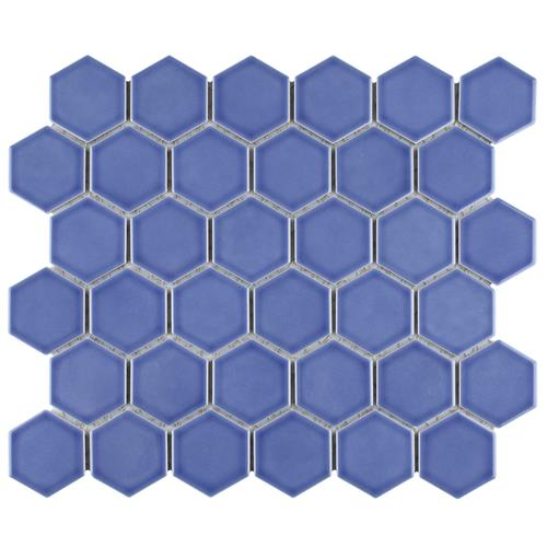 "Picture of Tribeca 2"" Hex Glossy Periwinkle 11-1/8""x12-5/8"" Porc Mos"