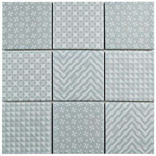"Picture of Geobright Grey 11-5/8""x11-5/8"" Porcelain Mos"