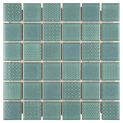 "Picture of Celadon Emerald 11-5/8"" x 11-5/8"" Porcelain Mosaic"