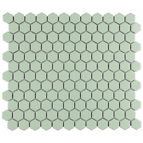 "Picture of Metro Hex 1"" Glossy Mint 11-7/8""x10-1/4"" Porcelain Mosaic"