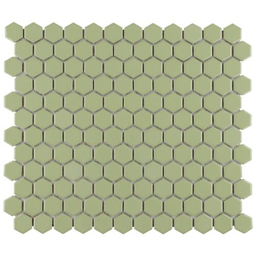 "Picture of Metro Hex 1"" Glossy Olive 11-7/8""x10-1/4"" Porcelain Mosaic"