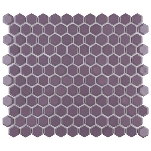 "Picture of Metro Hex 1"" Glossy Purple  11 7/8""x10 1/4"" Porcelain Mosaic"