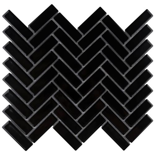 "Picture of Metro Brick Herringbone Glossy Black 10-5/8""x12-1/2"" Porcel"