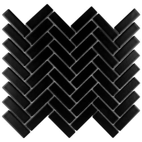 "Picture of Metro Brick Herringbone Matte Black 10-5/8""x12-1/2"" Porcela"