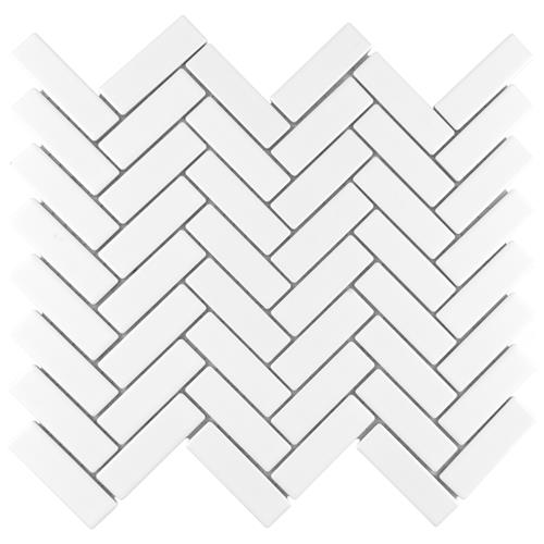 "Picture of Metro Brick Herringbone Matte White 10-5/8""x12-1/2"" Por"