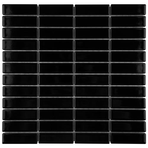 "Picture of Metro Brick Stacked Glossy Black 11-1/2""x11-3/4"" Por Mosaic"