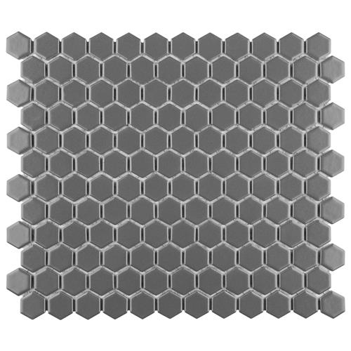 "Picture of Metro Hex Matte Grey 10-1/4""x11-3/4"" Porcelain Mos"