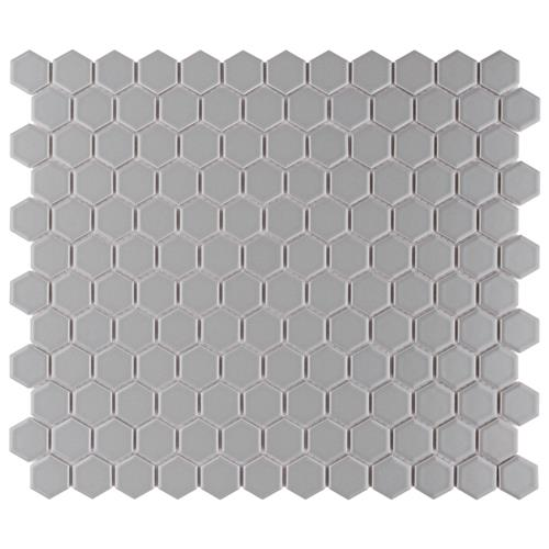 "Picture of Metro Hex Matte Light Grey 10-1/4""x11-3/4"" Porcelain Mos"