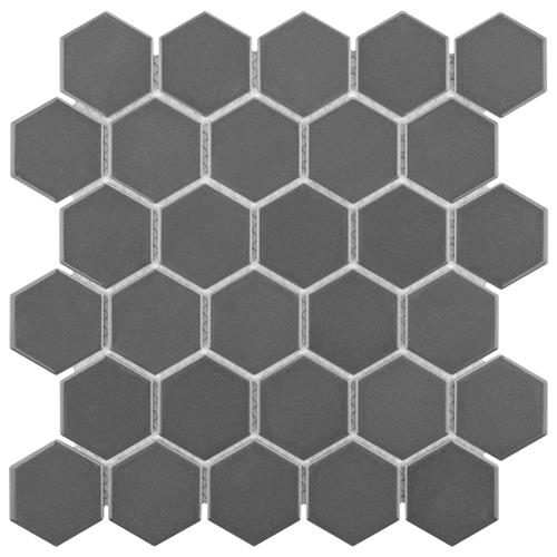 "Picture of Metro Hex Glossy 2"" Grey 10-1/2""x11"" Porcelain Mos"