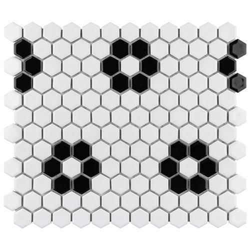 "Picture of Metro Hex Glossy Wht w/Flower 10-1/4""x11-7/8"" Porc Mosaic"