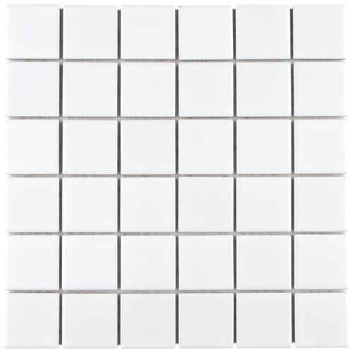 "Picture of Metro Quad Glossy 11-3/4"" x 11-3/4"" White Porcelain Mosaic"