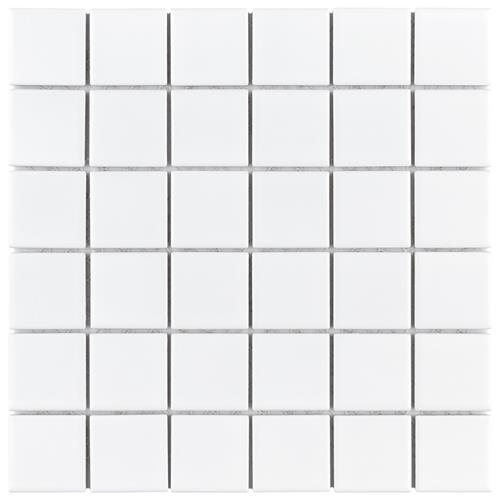 "Picture of Metro Quad Matte White 11.75"" x 11.75"" Porcelain Mosaic"