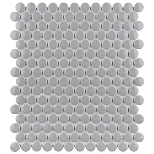"Picture of Metro Penny Glossy Light Grey 9.75""x11.5"" Porcelain Mosaic"