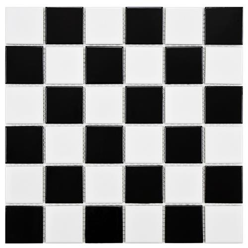 "Picture of Boreal Quad Checker Blk/Wht 11-7/8""x11-7/8"" Porcelain Mos"