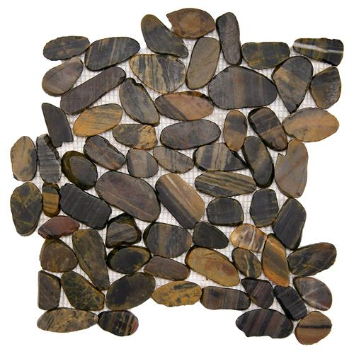 "Picture of Riverstone Flat Tiger Eye 11-3/4""x11-3/4"" Nat Stone Mos"