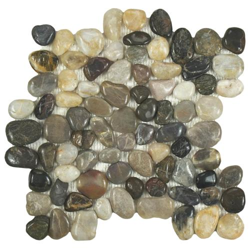 "Picture of Riverstone Polished Multi 11-3/4""x11-3/4"" Nat Stone Mos"