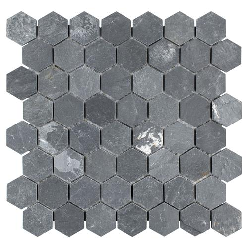 "Picture of Crag Hexagon Black 11-1/8""x11-1/8"" Slate Mos"