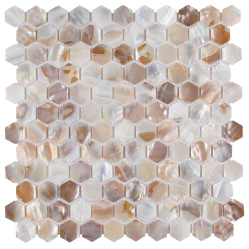 "Picture of Conchella Hexagon Natural 11-1/2""x11-5/8"" Nat Seashell Mos"