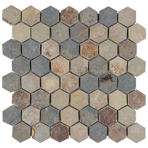 "Picture of Crag Hexagon Sunset 11-1/8""x11-1/8"" Slate Mos"