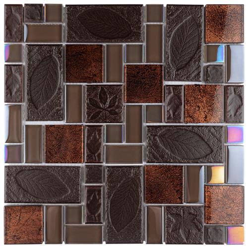 "Picture of Garden Versailles Walnut 11-3/4""x11-3/4"" Cer/Glass Mos"