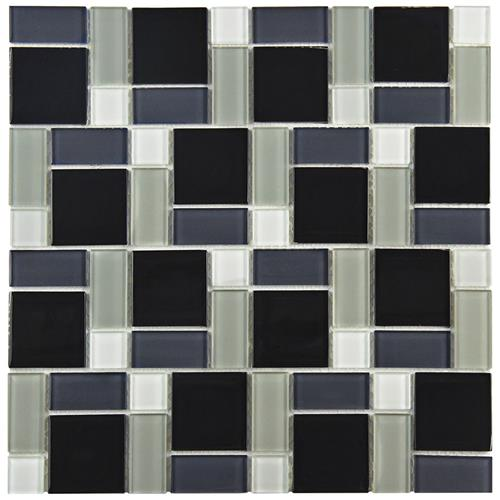 "Picture of Spectrum Block Black/White 11-3/4""x11-3/4"" Glass Mos"