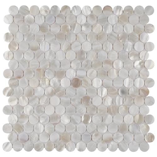 "Picture of Conchella Mini Penny Wht 11-1/2""x11-5/8"" Nat Seashell Mos"