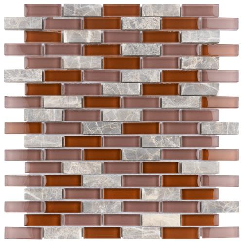 "Picture of Tessera Subway Bordeaux 10-3/4""x11-3/4"" Gl/Stone Mos"