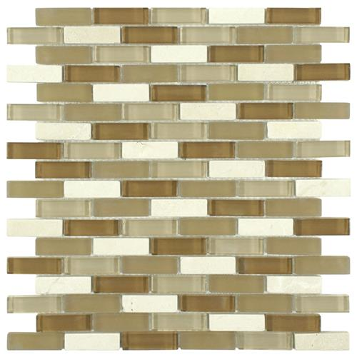 "Picture of Tessera Subway Latte 10-3/4""x11-3/4"" Gl/Stone Mos"