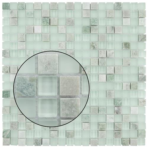 Tessera Mini Ming 11 3 4 X11 Gl Stone Mos Our In X 8 Mm And Mosaic Tile Features Soft Pale Glacier