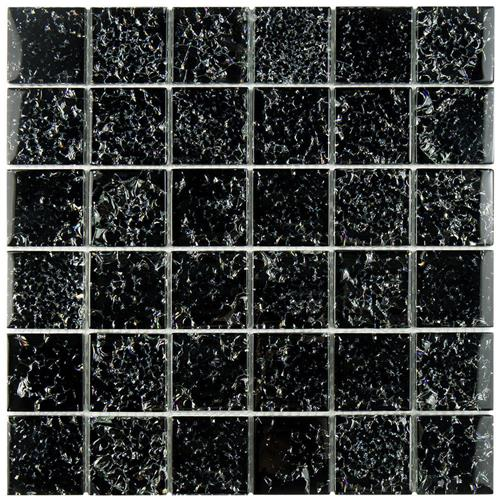 "Picture of Stark Crackle Black 11-3/4""x11-3/4"" Glass Mos"