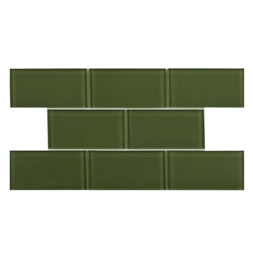 "Picture of Tessera Subway Sage 3""x6"" Glass W Tile"