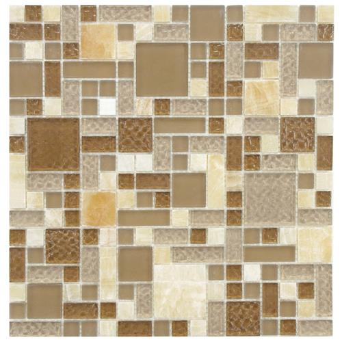 "Picture of 11-3/4""x11-3/4"" Tessera Versailles Amber Glass/Stone Mosaic"