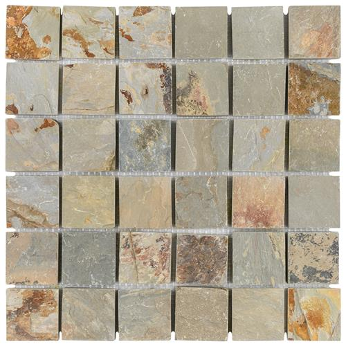 "Picture of Crag Quad Sunset Slate 12""x12"" Nat Stone Mos 002"