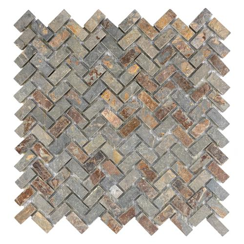 "Picture of Crag Herringbone Sunset Slate 12""x12"" Nat Stone Mos 023"