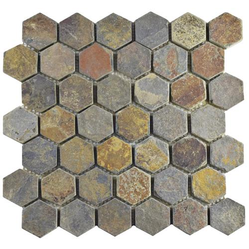 "Picture of Crag Hexagon Multi Slate 12""x12-1/4"" Nat Stone Mos 024"