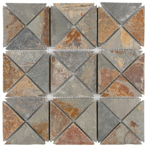 "Picture of Crag TriSquare Sunset Slate 12""x12"" Nat Stone Mos 019"