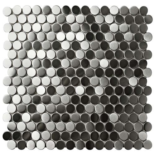 "Picture of Alloy Penny Round 11-7/8""x11-7/8"" Stainless Steel/Porc Mos"
