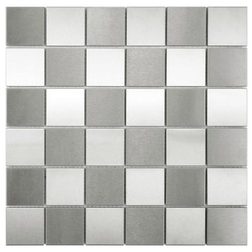 "Picture of Alloy Quad Checkerboard 12""x12"" Stainless Steel/Porc Mos"