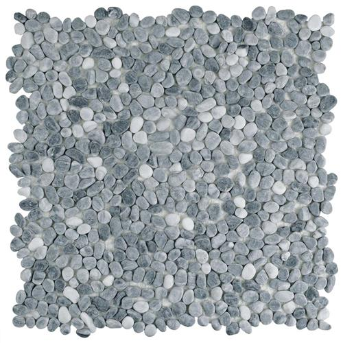 "Picture of Pebblini 608 Cloud Grey 12-1/4""x12-1/4"" Pebble Stone Mos"